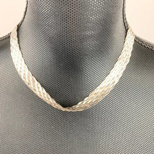 """Braided 18"""" Italian  Necklace 925 Sterling Silver"""